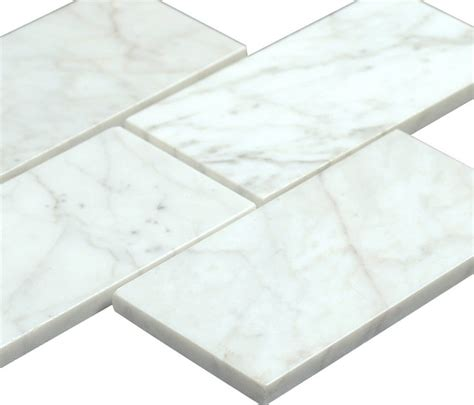 bianco carrara 3x6 polished marble subway tile traditional tile by all marble tiles
