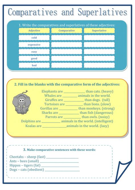 Sheets Comparison by Comparatives And Superlatives Interactive Worksheet