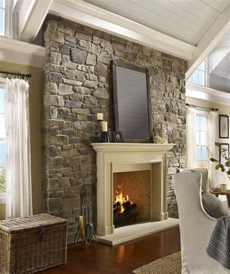 Cottage Fireplace Design by Cozy Neutral Living Room Accent Wall
