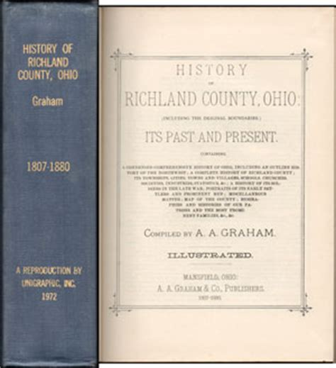 Richland County Ohio Records History Of Richland County Ohio 1880 A A Graham Mansfield Oh Book