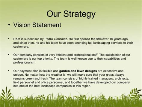 sle business plan vision statement p mlandscaping company profile