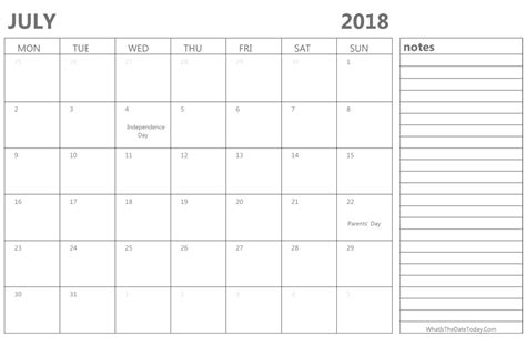 printable calendar you can edit editable july 2018 calendar with holidays and notes