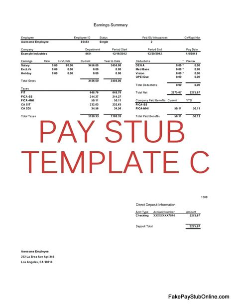 paycheck stub template in microsoft word paycheck stub template in microsoft word