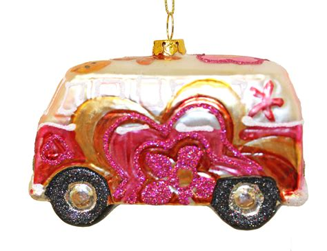 tropical flower power vw bus glass christmas holiday ornament