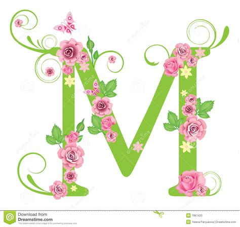 Name Letter M letter m with roses stock photo image 7967420
