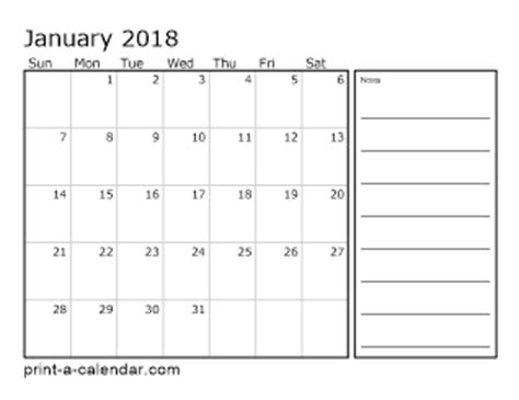 printable monthly calendar with space for notes download 2017 printable calendars