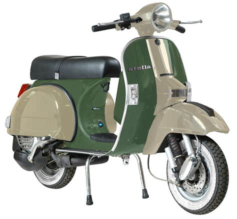 modern vespa two tone paint on green stella p