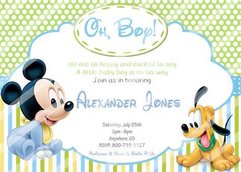 Mickey Baby Shower Invitations by Baby Mickey Baby Shower Invitations Pluto