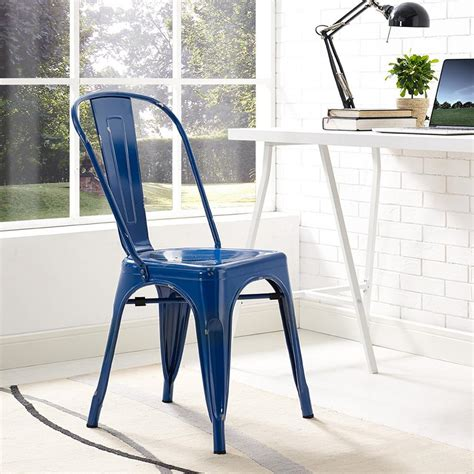 Blue Metal Dining Chairs Walker Edison Furniture Company Navy Blue Metal Dining Chair Hdh33mcnb The Home Depot