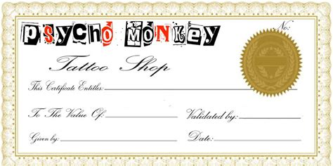 tattoo gift certificate gift certificate template cliparts co