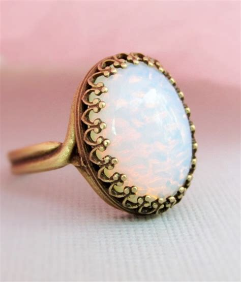 Opal Ring Large Pinfire Opal Ring October Birthstone