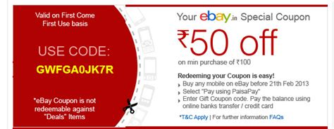 ebay mobile coupons ebay coupon 50 on 100 coupons forum at desidime