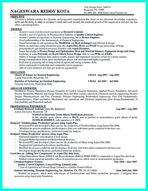 Resume Format For Chemical Engineer by 1000 Ideas About Resume Objective Exles On Resume Objective Resume Tips And