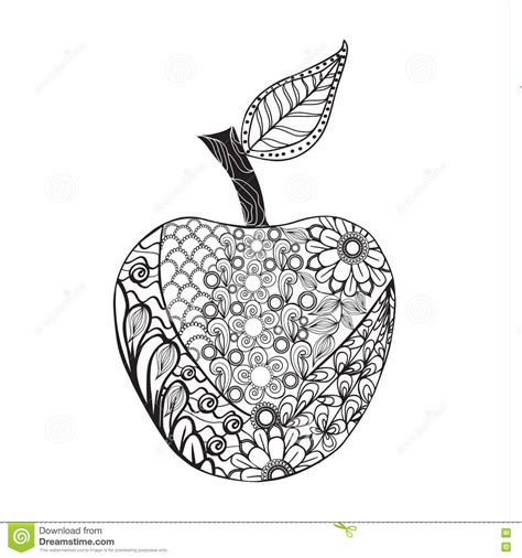 apple coloring pages for adults monochrome apple zentangle style for coloring book stock