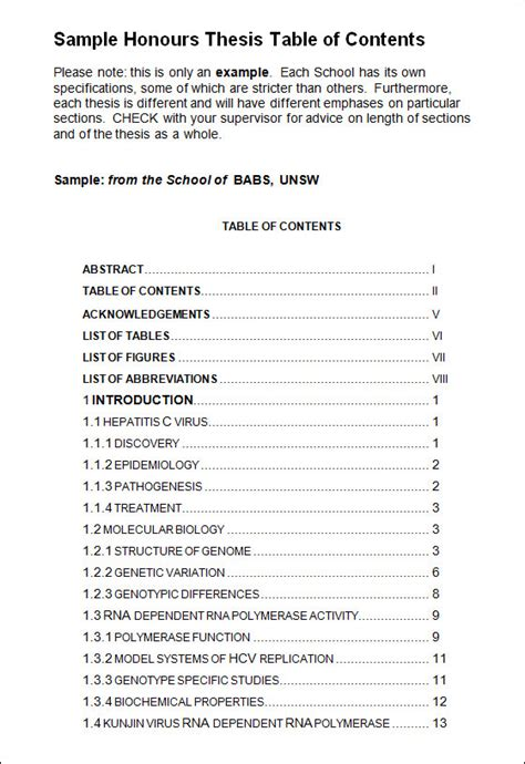 table of contents templates table of contents template 9 free documents in