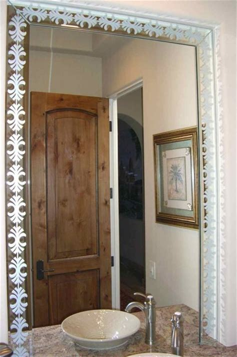 Etched Bathroom Mirrors Fancy Palm Border Decorative Mirror With Etched Carved Design Bathroom Other Metro By