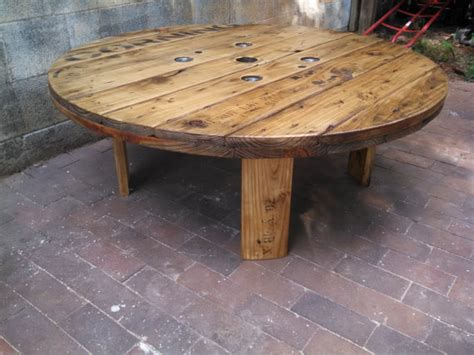Wire Spool Table by Corning Industrial Cable Spool Coffee Table