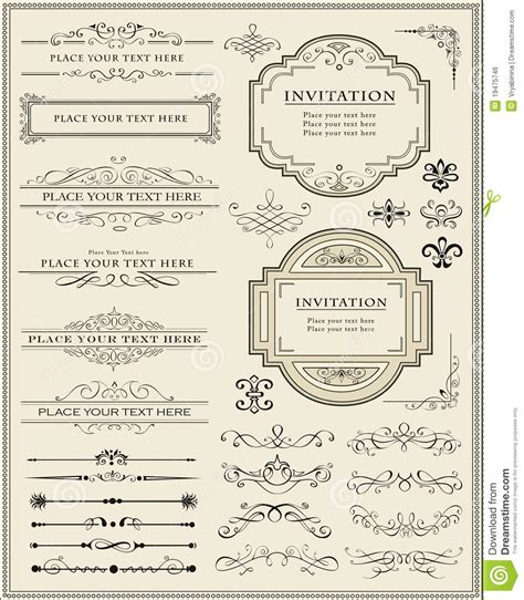 page layout design elements calligraphic design elements and page decoration royalty