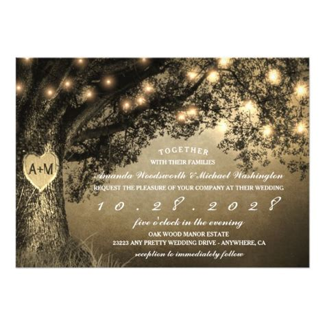 Oak Tree Wedding Invitations by Vintage Rustic Carved Oak Tree Wedding Invitations