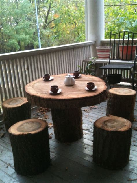 homeofficedecoration lovely tree stump  tables chairs