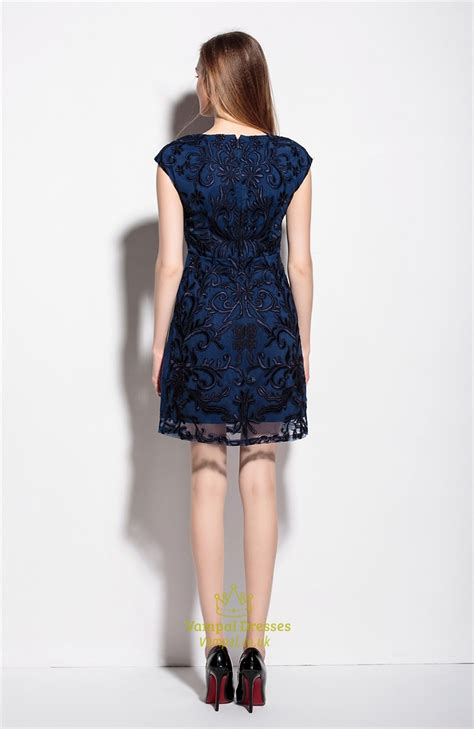 V Neck Sleeve Cocktail Dress navy blue v neck embroidered overlay cocktail dress with