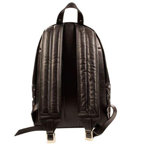 versace accessories versus versace black canvas leather all print backpack