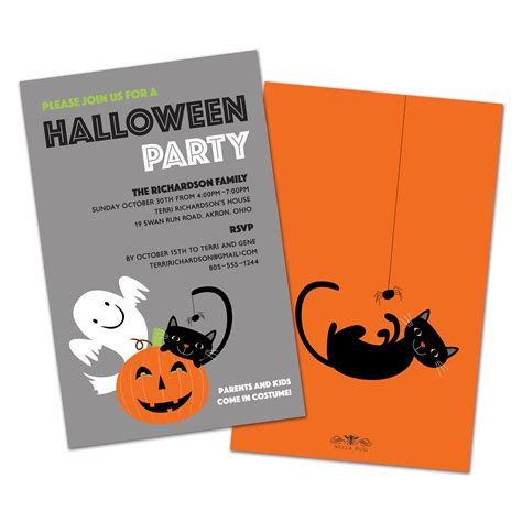 Bellabug Templates Cute Cat Personalized Halloween Party Invitations Bella Bug