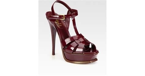 ysl platform sandal lyst laurent ysl tribute patent leather platform