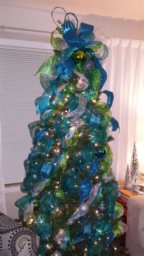 peacock themed ribbon christmas tree christmas pinterest
