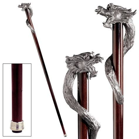 walking stick fighting sorcerer serpent pewter hardwood gentleman s