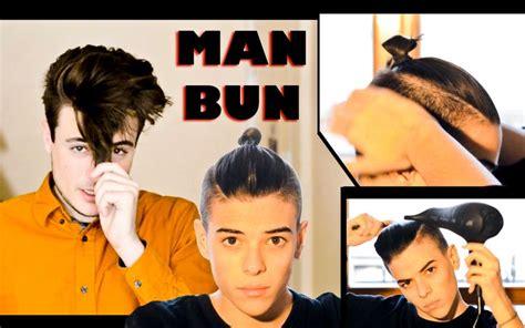 mens faux top knott mens hair tutorial man bun top knot hairs pinterest