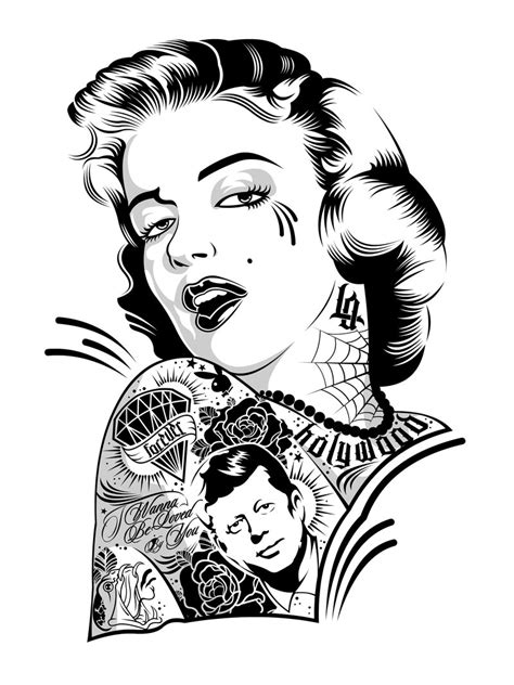 tattoo girl vector marylin on ink by dznflavour on deviantart