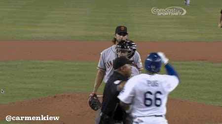 baseball bench clearing dodgers beat giants after bumgarner hits puig and benches