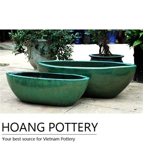 Outdoor Pottery Pots Oval Glazed Ceramic Flower Pots Outdoor Hpdb022 Hoang
