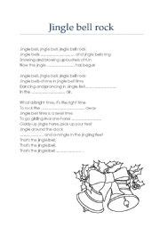 printable lyrics jingle bell rock english teaching worksheets christmas carols