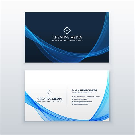 wave business card template free word blue wave vector business card design template