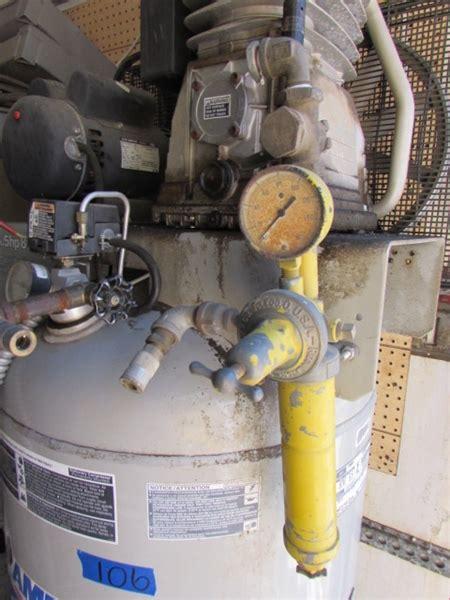 lot detail one big a industrial air compressor quot air america quot 80 gallon 6 5 hp at the estate