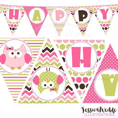 printable party banner maker birthday girl owl printable party banner printable pink owl