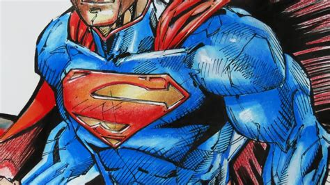 colored drawings drawing superman watercolor ink pen colored pencils