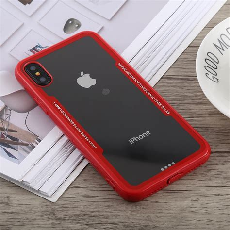 acrylic tpu shockproof case  iphone xs max red