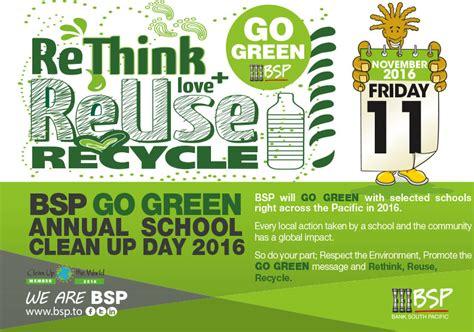 Alliz Go To School Green quot rethink reuse recycle quot bsp encourages go green school clean up day matangitonga