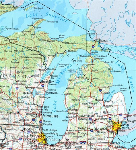 Detailed Map Of Michigan michigan geography and information