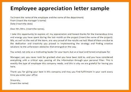appreciation letter to my employee employee appreciation letter sle the letter sle