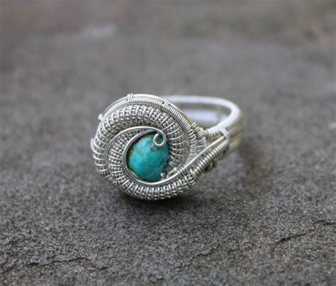 Handmade Wire Wrapped Rings - turquoise silver handmade heady wire wrap ring by