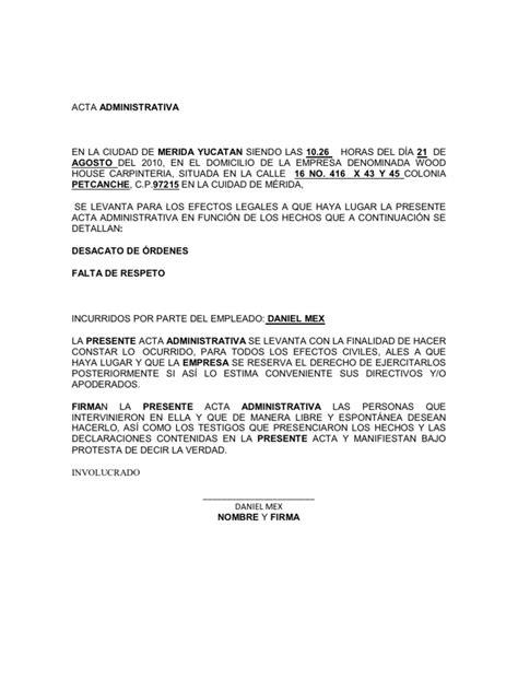 Machote De Acta Administrativa | acta administrativa