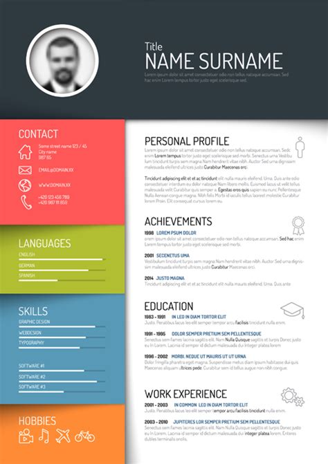 Free Designer Resume Templates by Creative Resume Template Design Vectors 05 Vector Business Free