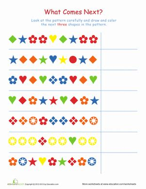 pattern worksheet for 1st grade complete the patterns 1 worksheet education com