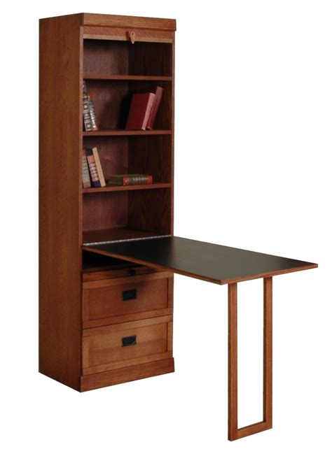 mission style bookcase with drop table and bottom