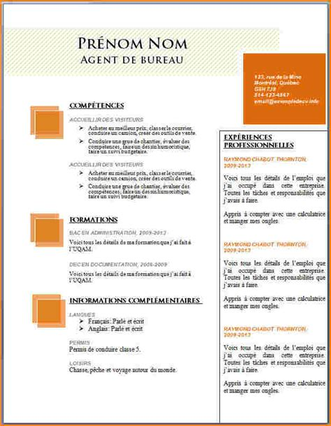 Exemple De Cv Simple Gratuit by Cv Word Modele Gratuit Cv Modele Simple Forestier Rhone