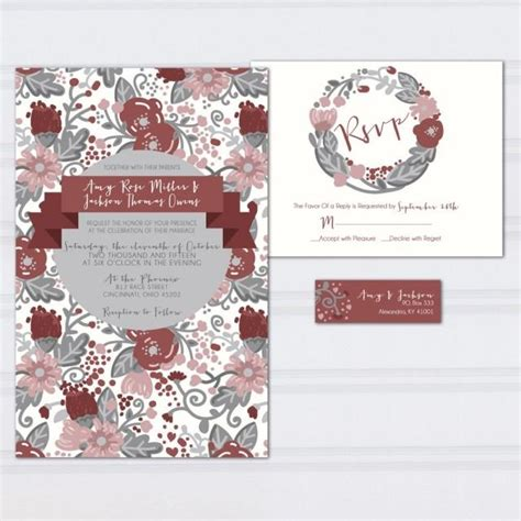 doodle wedding stationery floral pattern wedding invitations marcala wine wedding